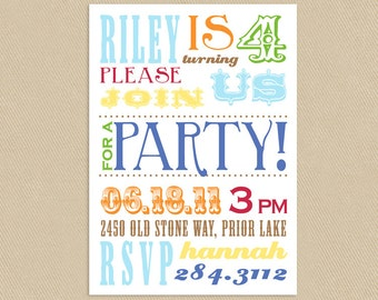 5x7 Colorful Circus Poster Printable Birthday Party Invitation