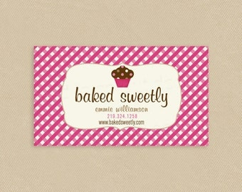 Printable Business Card Baked Sweetly Cupcake Pink Lattice