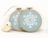 Christmas tree ornaments, Holiday decorations, Ornaments set of two (2) - White and blue wooden hoop Ornaments for Christmas - ClassicByNature