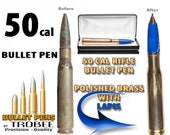 Bullet Pen - 50 caliber with blue lapis, gift for hunter or military