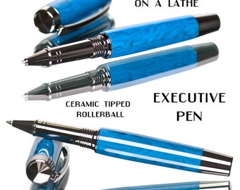 Handcrafted Pen Professionally Made by Hand Cast Blue Rollerball - Attention to fine detail high end premium writing instrument amazing pens