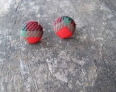 Northwest Red Plaid Small Fabric Covered Button Earrings