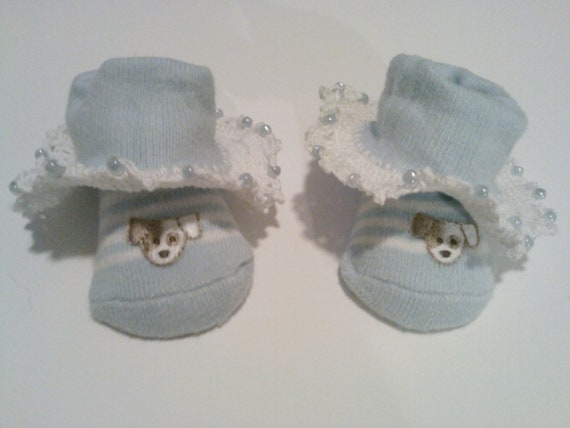 Baby Crocheted Blue Dog Lover Booties