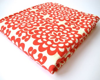 Modern Baby Blanket - Big Red and Cream Flowers - Amy Butler Lotus Collection - Cream Minky Dot - 26 x 30