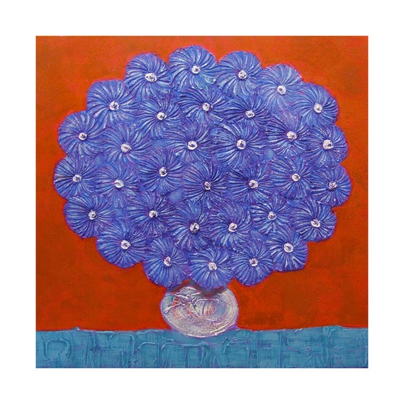 SALE 57% OFF...Textured Blue Flowers in a White Vase...LARGE Knife Painting...Square 30x30...Acrylic Modern Art on Canvas by Kelly