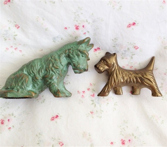 Vintage Brass and Bronze Scotty Dogs