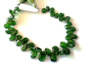 RUSSIAN CHROME DIOPSIDE Half strand 22Pcs of High Quality Rare Chrome Diophside Faceted Pear Shape Briolettes,7-10mm