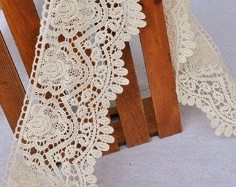 Vintage Cotton Embroidery Lace Hollow out Lace Trims 4.33 Inches Wide 1 yard