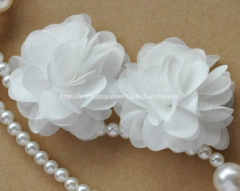 White Chiffon Flowers 2.55 Inches Wide For Costume Headware Corsage Supplies 2pcs