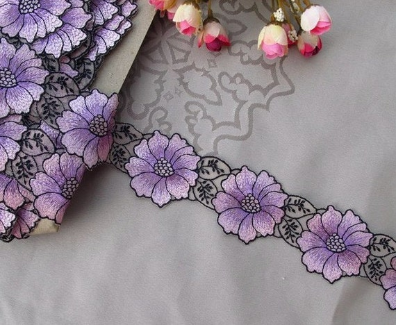 2 Yards Purple Lace Trim Emborideried Flower Tule Lace 2.55 Inches Wide