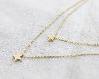 simple Two star double layers chain Necklace - S2227-2