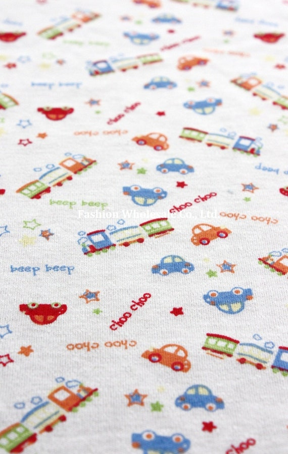 Kawaii Baby Knit Cotton Fabric - Little Car, Choo Choo, Beep Beep