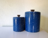 Vintage Blue Graniteware Canisters with Wood Knobs, Great Vintage Kitchen Storage, Rustic Camping Style, Ransburg Canister Set of Two