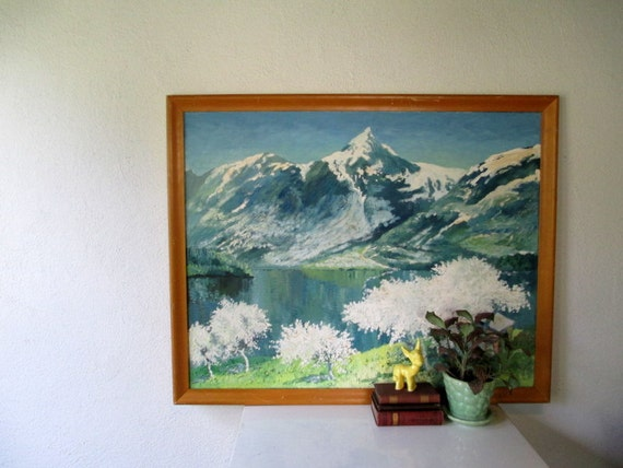 Vintage Oil Painting, Mountain Landscape Cherry Blossoms, Vintage Large Painting with Wood Frame