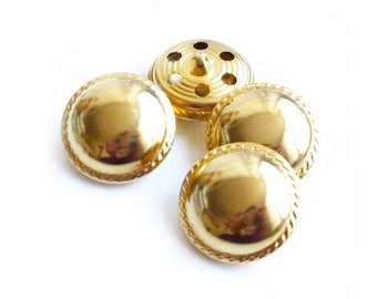 4 Vintage Gold Metal Buttons