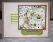 One Handmade Christmas Card Holiday Card Olive Snowman Season's Greetings
