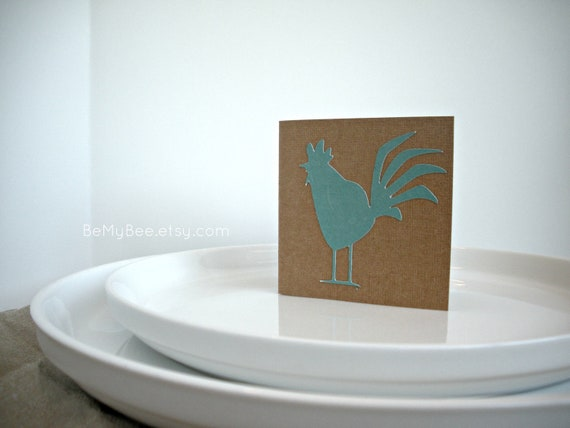 Rooster Place Cards, Chicken Mini Cards, Rustic Cards, Farm Cards, Animal Cards, Red Hen, Blue Chicken, Teal