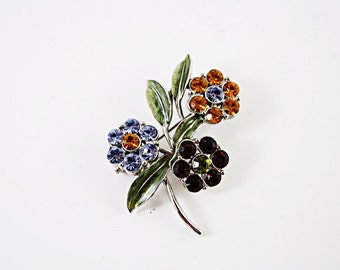 Vintage Flower Rhinestone Brooch, Beautiful Colored Rhinestones with Enameled Leaves, Silvertone, all stones Intact   Free shipping No. 35