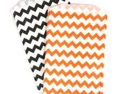 20 Orange, Black, and White Halloween Chevron Middy Bitty Bags (Treat Bags, Favor Bags, Gift Wrap, Envelopes) - 5 x 7.5 inches