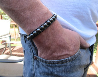 Men's Black and Hematite  Beaded Leather Wrap Bracelet