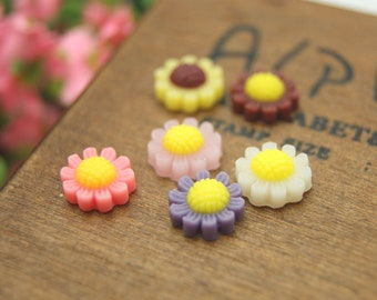 20 pcs 10mm Resin Rose Flower Cabochon Cameo Covers Sunflower Mixed Colors