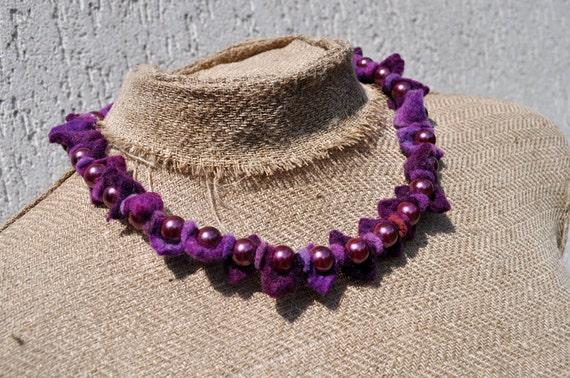 Set, necklace and bracelet, purple, glass beads