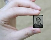 "Miniature Gem Size Tintype ""Portrait of Woman"", Photography, Paper Ephemera, Snapshot, Old Photo, Collectibles"