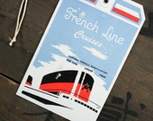 """1950's Vintage Travel Luggage Baggage Suitcase Tag """"French Line Cruises"""", Paper Ephemera, Collectibles"""