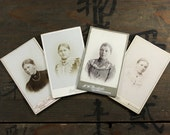 """4 Vintage CDV Photos """"Beauty Women of the Past"""", Photography, Paper Ephemera, Snapshot, Old Photo, Collectibles - 0044"""