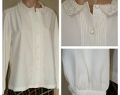 Vintage 70s 1970s Pintuck Lace Collar Ecru Off White Secretary Blouse sz L XL