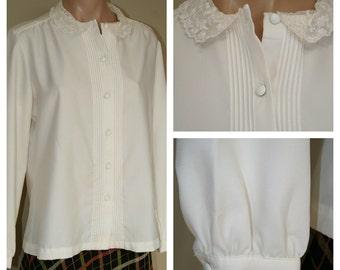 Vintage 70s 1970s Blouse Lace Collar Blouse Pintuck Career Blouse Off White Secretary Blouse sz L XL