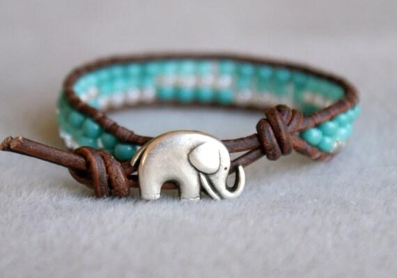 Turquoise Boho beach beaded leather wrap bracelet, 1x Wrap bracelet, Chan Luu style, blue, silver elephant, good luck wrap