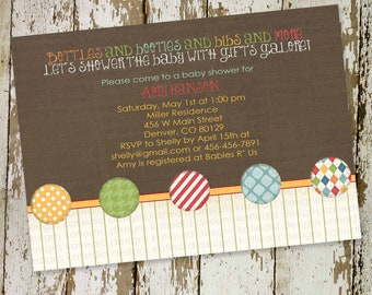 baby boy shower invitation with bright colors and circles, digital, printable file (item 1249) baby shower invite