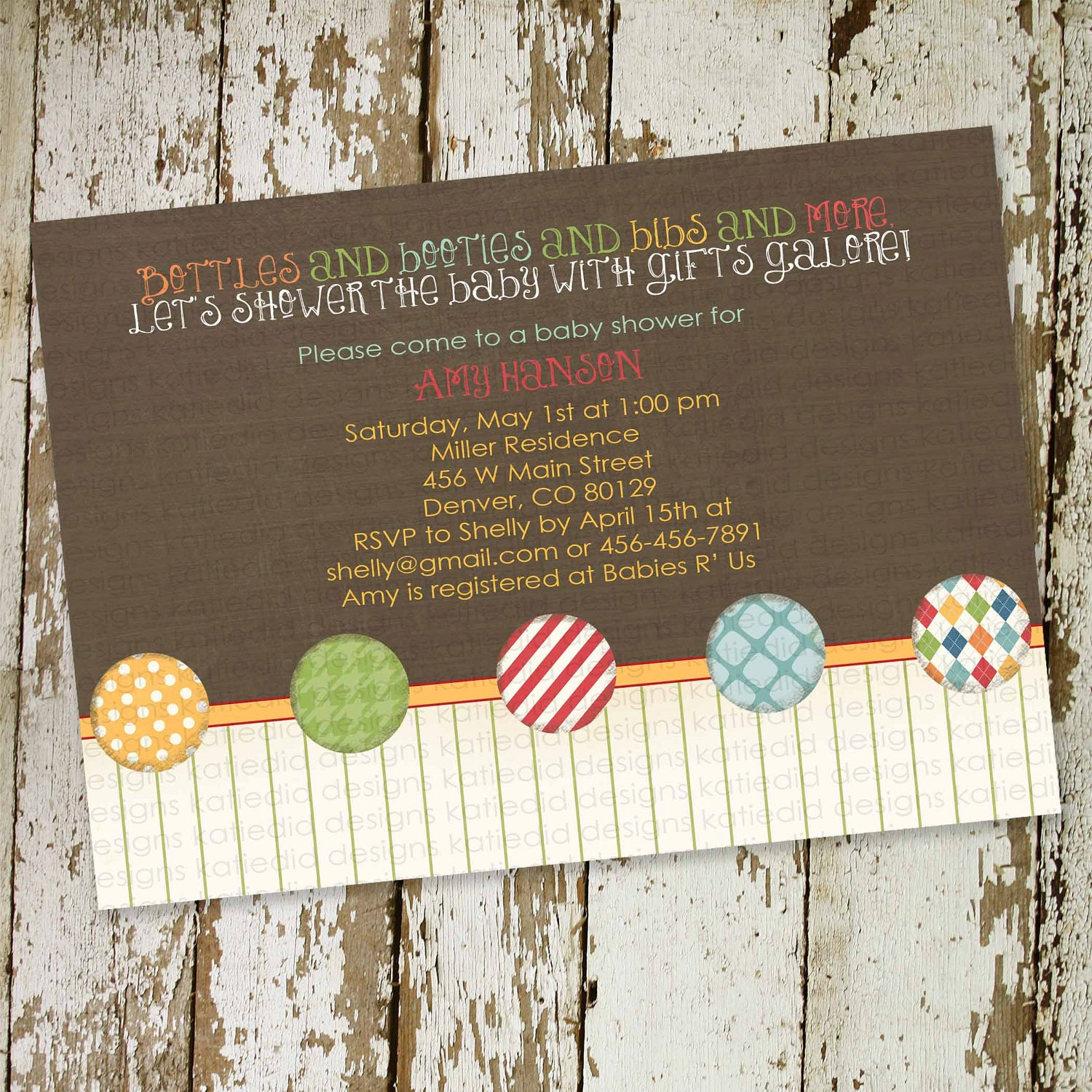 baby boy shower invitation with bright colors by katiedidesigns