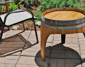 Arched Napa Valley Wine Barrel End Table with 3 Legs, Upcycled Wine Barrel Furniture, French Oak Home Decor, Wooden Handcrafted Wedding Gift