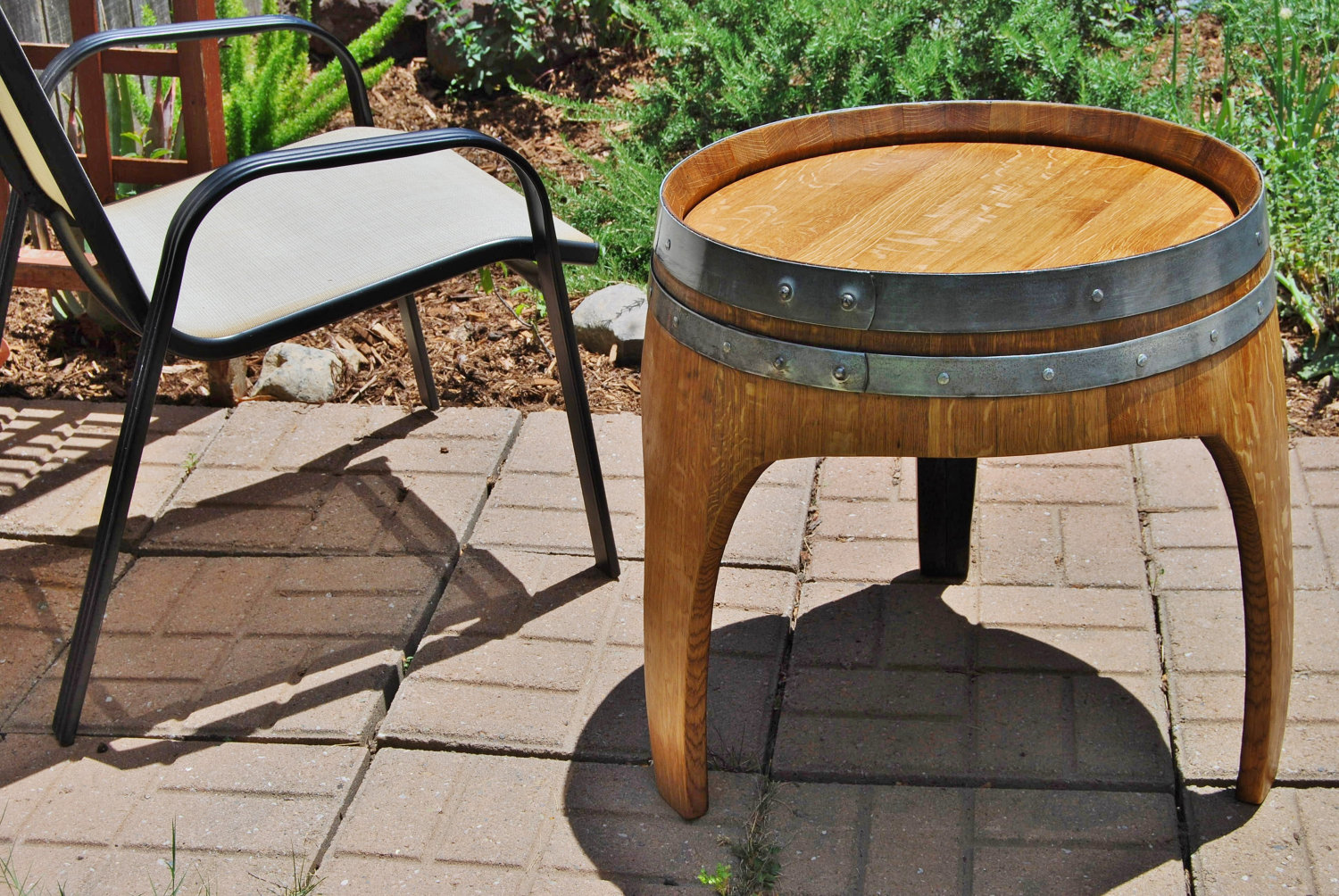 Arched Napa Valley Wine Barrel End Table With 3 Legs Upcycled