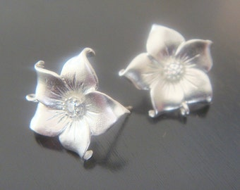 Wholesale Sterling Crystal Flower Earring Post Findings, setting, connector, pendants, 2 pc,  P512568