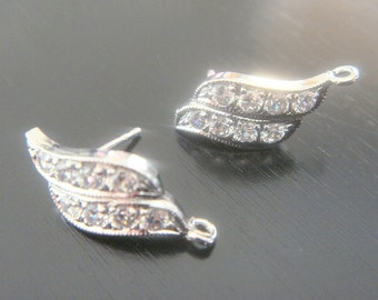 Wholesale Sterling Silver Crystal Earring Post Findings, setting, connector, pendants, 2 pc,  BE13535