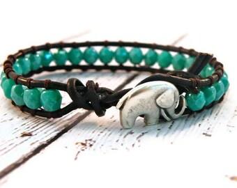 Lucky Little Elephant Turquoise Leather Wrap Bracelet with Turquoise Czech Beads/ Boho Southwestern Chic/ Custom Length