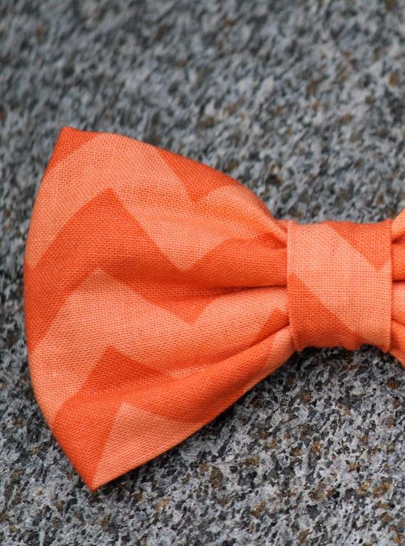 Mens bow tie in Orange on Orange Chevron - Clip on, pre-tied adjustable strap or self tying