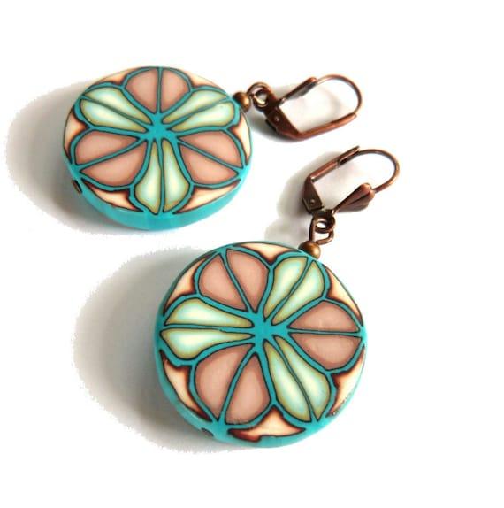 Turquoise dangle blue cream earrings for women, bright art jewelry, artisan jewelry, light blue earrings Millefiori polymer clay geometry
