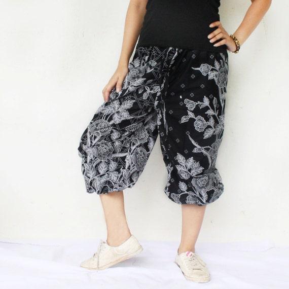 Hand made love black  and white Thai batik  harem  pants and elastic waist.