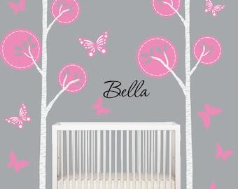 Birch Tree Decal Grey Pink Nursery Tree Wall Decal Baby Modern Kids Wall Decal
