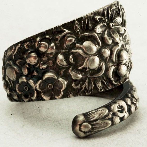 Antique Stieff Forget Me Not Floral Sterling Silver Spoon Ring, Made in YOUR Size (2464)