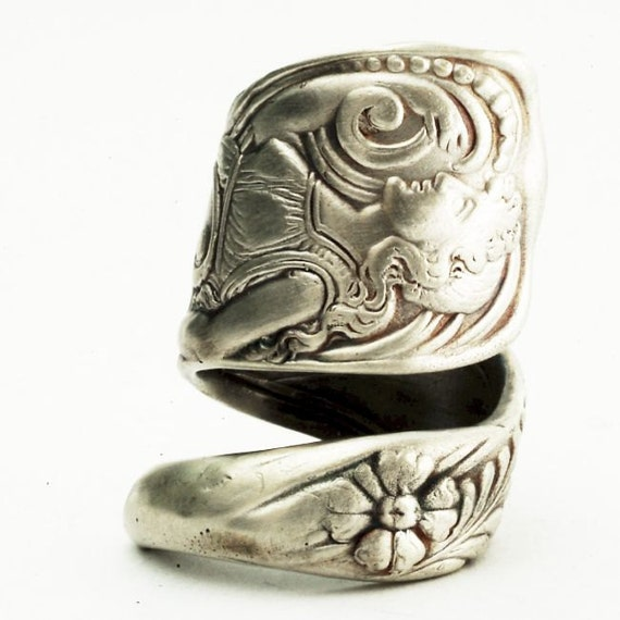 Spoon Ring Siren Pattern Figural Art Nouveau Ring in Sterling Silver, Handcrafted in Your Size (2512)
