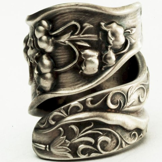 Spoon Ring Unique Lily of the Valley Art Nouveau Sterling Silver, Handcrafted in Your Size (2533)