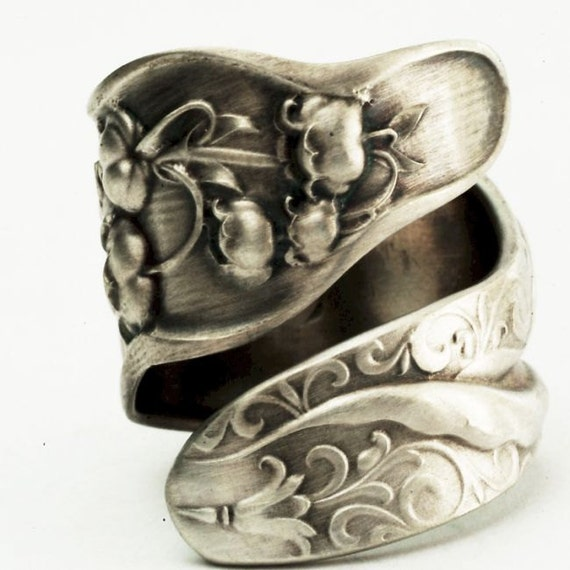 Spoon Ring Unique Lily of the Valley Art Nouveau Sterling Silver, Handcrafted in Your Size (2541)