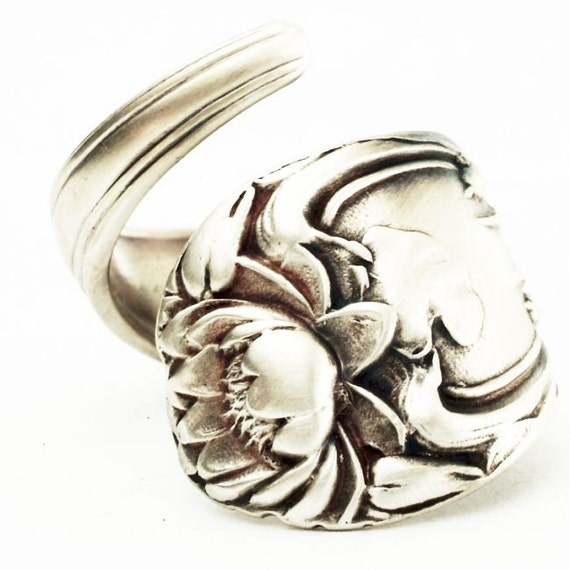 Spoon Ring Art Nouveau Lotus Blossom Sterling Silver Spoon Ring, Handmade in Your Size (2607)