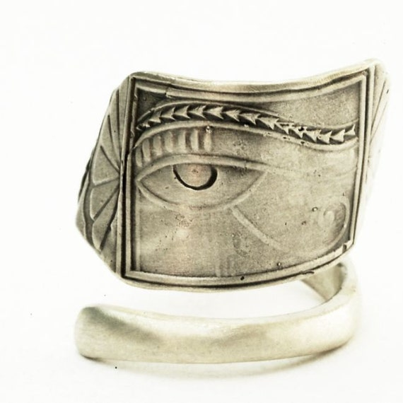Spoon Ring Good Luck Eye of Horus Egyptian Motif in Sterling Silver, Handcrafted in Your Size (2681)