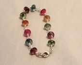 Sterling silver hand wrapped multicolored tourmaline bracelet